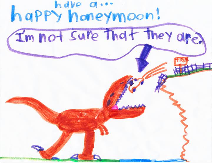 Nephews drawing of a dinosaur eating a car